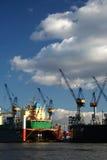 Mening van logistiek bij de haven - serie (omhoog) Stock Foto