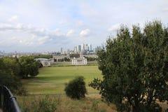 Mening van Londen van het Park van Greenwich Stock Foto