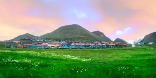 Mening van Longyearbyen, Noorwegen, Spitsbergen Royalty-vrije Stock Afbeeldingen