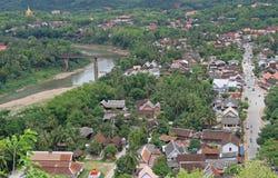 Mening van Luang Prabang van Phousi-berg Stock Fotografie