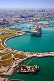Mening van lucht op de kust van het Perzische Golf Royalty-vrije Stock Afbeelding