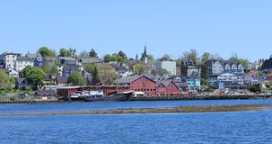 Mening van Lunenburg, Nova Scotia-waterkant 4K stock footage