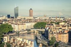 Mening van Lyon met Saone-rivier Royalty-vrije Stock Afbeelding