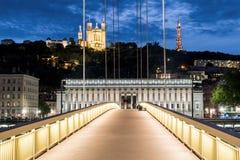 Mening van Lyon 's nachts van voetgangersbrug Stock Afbeeldingen