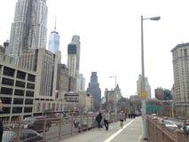Mening van Manhattan van de Brug van Brooklyn royalty-vrije stock afbeeldingen