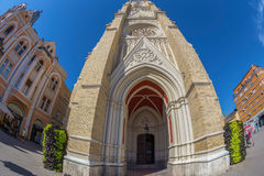 Mening van Mary Church en de oude gebouwen Novi Sad, Servië Royalty-vrije Stock Fotografie