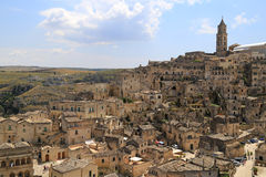 Mening van Matera, Italië Stock Fotografie