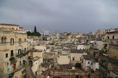 Mening van Matera, Italië Stock Foto's