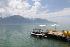 Mening van Meer Genève van Montreux royalty-vrije stock afbeelding