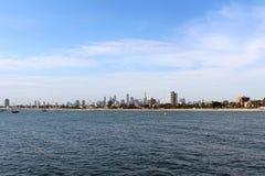 Mening van Melbourne van St Kilda Pier Stock Fotografie
