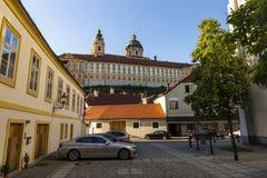 Mening van Melk-stad in Oostenrijk royalty-vrije stock foto's