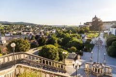 Mening van Melk-stad in Oostenrijk stock afbeelding