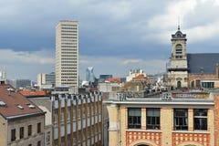 Mening van Minimes-straat van Plaats Poelaert, Brussel Royalty-vrije Stock Foto's
