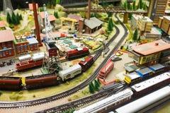 Mening van modelspoorweg in Dresden Stock Foto's