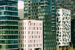 Mening van moderne architectuur in het centrum van Oslo Stock Afbeeldingen