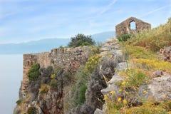 Mening van Monemvasia-stad bij klip Royalty-vrije Stock Fotografie