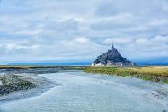 Mening van Mont Saint Michel, Normandië Frankrijk royalty-vrije stock afbeelding