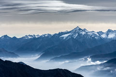 Mening van Monte Bianco Mont Blanc Valle D ` Aosta stock afbeelding