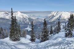 Mening van mooi de winterlandschap Stock Afbeeldingen