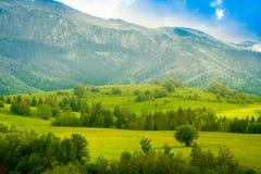 Mening van mooi landschap in de Tatra-Berg met verse groene weiden royalty-vrije stock foto's
