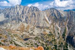 Mening van mooie bergen van Solisko in Hoge Tatras, Slowakije Royalty-vrije Stock Foto's