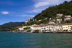 Mening van Morcote, Zwitserland Stock Fotografie