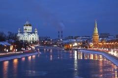 Mening van Moskou het Kremlin in de de winterochtend. Rusland Stock Afbeelding