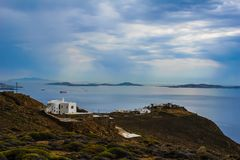Mening van Mykonos-vuurtoren Stock Afbeelding
