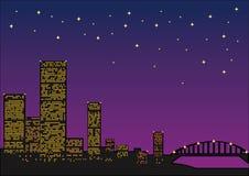 Mening van nachtstad vector illustratie