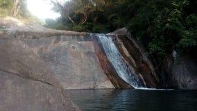 Mening van natuurlijk waterval in bos stock foto's