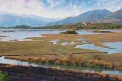 Mening van natuurreservaat Solila Tivat, Montenegro, de herfst Royalty-vrije Stock Afbeeldingen