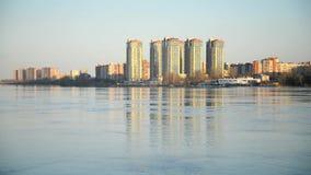 Mening van Neva rivier, St Petersburg stock video