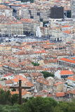 Mening van Notre Dame de la Garde in Quay des Belges, Marseille Royalty-vrije Stock Foto's