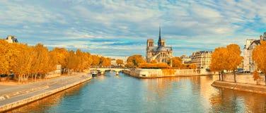 Mening van Notre Dame de Paris en Zegenrivier in de Herfst Royalty-vrije Stock Fotografie