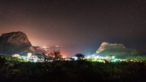 Mening van Novyi Svet (de Krim) bij nacht Stock Fotografie