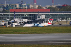 Mening van Okecie-Luchthaven in Warshau Royalty-vrije Stock Foto's