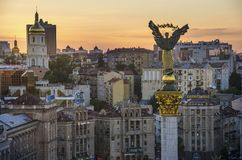 Mening van Onafhankelijkheid Vierkante Maidan Nezalezhnosti in Kiev, de Oekraïne royalty-vrije stock afbeeldingen