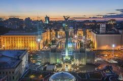 Mening van Onafhankelijkheid Vierkante Maidan Nezalezhnosti in Kiev, de Oekraïne royalty-vrije stock foto's