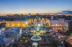 Mening van Onafhankelijkheid Vierkante Maidan Nezalezhnosti in Kiev, de Oekraïne stock foto's