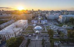Mening van Onafhankelijkheid Vierkante Maidan Nezalezhnosti in Kiev, de Oekraïne royalty-vrije stock afbeelding