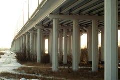 Mening van onderaan over de brugsteunen over de de riviervallei van het alluviale gebied in de herfst Stock Afbeeldingen