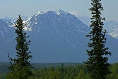 Mening van Onderstel Denali van een loge, Alaska, de V.S. royalty-vrije stock fotografie
