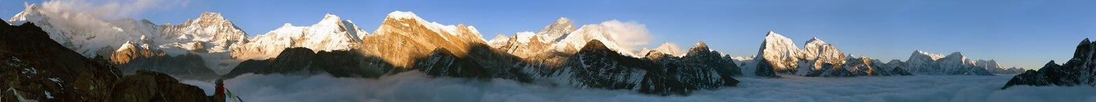 Mening van Onderstel Everest, Lhotse, Makalu en Cho Oyu stock foto's