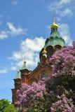 Mening van Orthodoxe Kerk Uspenski Stock Fotografie