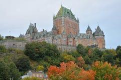 Mening van oud Quebec en Château Frontenac Stock Afbeeldingen