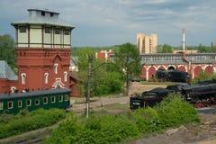Mening van oud station Podmoskovnaya van viaduct, Moskou, Royalty-vrije Stock Afbeeldingen