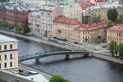 Mening van oude Europese stad van hoogte van de vlucht van de vogel Heilige Petersburg, Rusland, Noordelijk Europa Stock Afbeeldingen