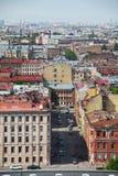 Mening van oude Europese stad van hoogte van de vlucht van de vogel Heilige Petersburg, Rusland, Noordelijk Europa Royalty-vrije Stock Foto