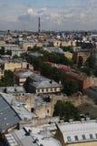 Mening van oude Europese stad van hoogte van de vlucht van de vogel Heilige Petersburg, Rusland, Noordelijk Europa Royalty-vrije Stock Foto's