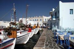 Mening van oude haven van Naoussa Stock Foto's